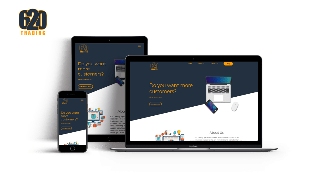 620 trading website designed featured in laptop, tablet and mobile
