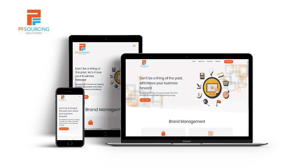 pf sourcing solutions website featured in laptop, tablet and mobile