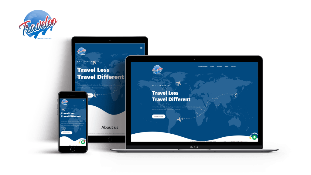 Approved website design of the client traveloo featured in laptop, tablet and mobile.