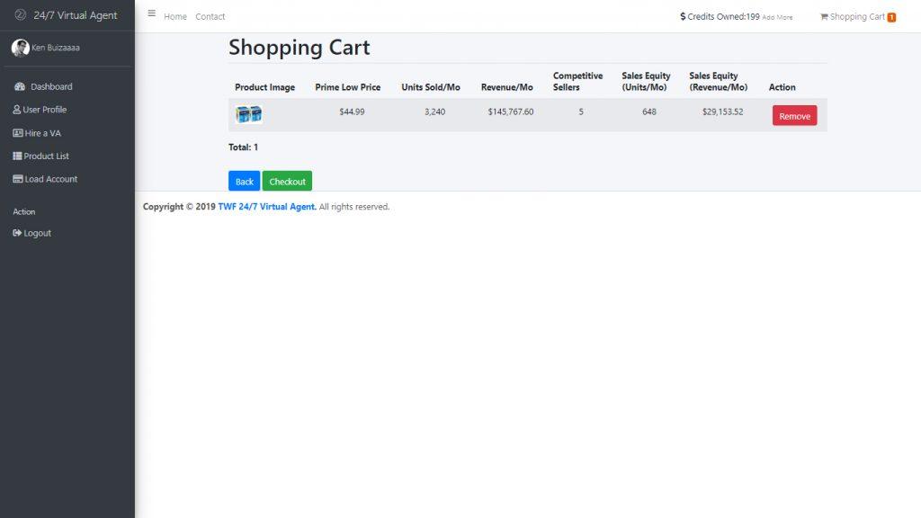 Shopping cart Section sample
