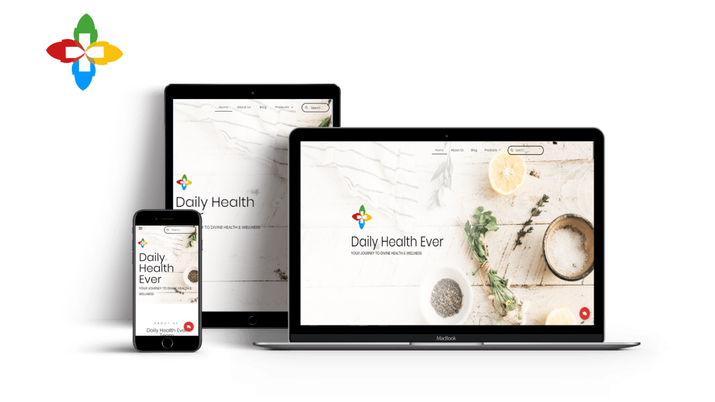 Finished website of the client dailyhealthever properly optimized for pc, tablet and mobile use