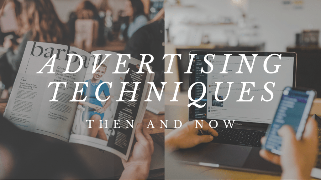 Advertising techniques comparison, Magazine and laptop1