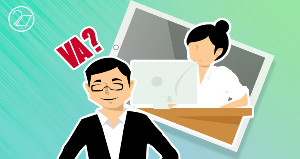 A man wearing black thinking about Virtual Assistant and a woman in the background working as a virtual assitant