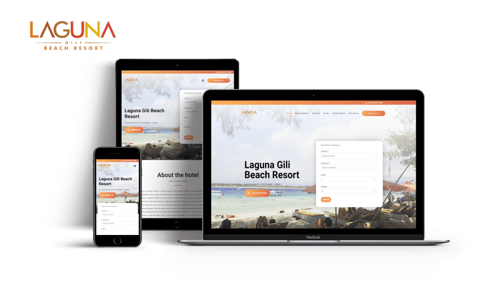 Updated website for the client Laguna Gili Resort that's properly optimized for PC, Tablets and Mobile Phone Users1