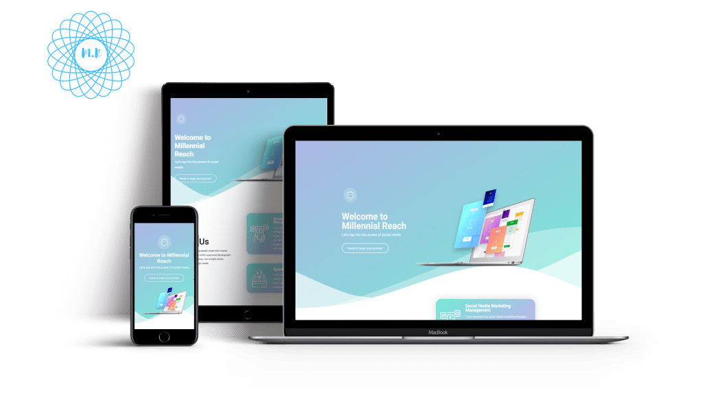 A Colorful and vibrant website design of Millenial Reach properly optimized for pc, tablets and mobile phones