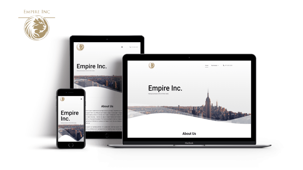 Final Product of the Main Website of Empire Inc. optimized properly for mobile phone, pc and tablet users.